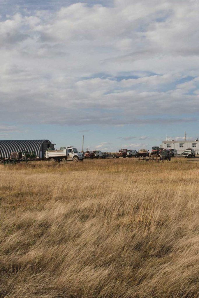 prairie grass in fore frame, trucks and buildings on the horizon